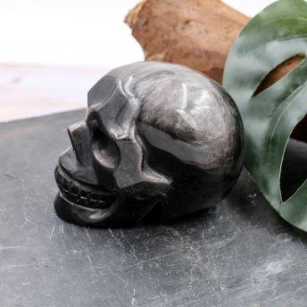 Crâne en Obsidienne argentée