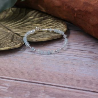Bracelet Aigue-marine losange argent