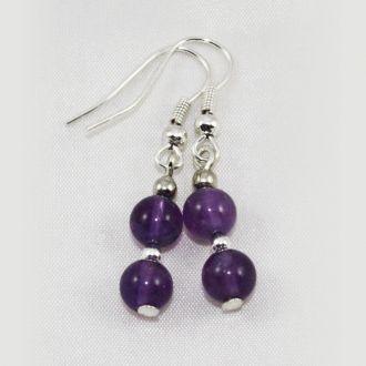 Boucles d'oreilles Améthyste 2 perles larges droites