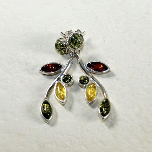 Boucles d'oreilles ambre et argent tige fleurie, vue détaillée