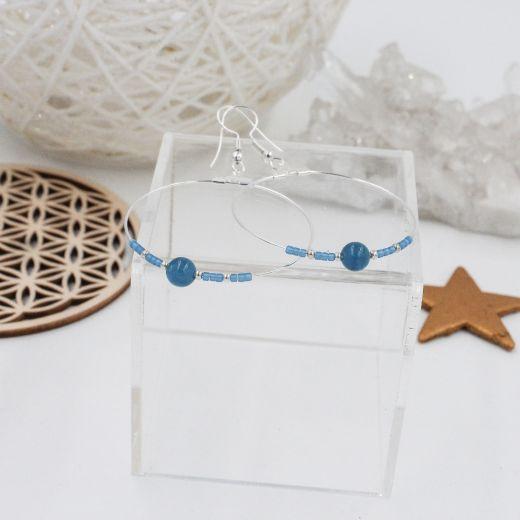 Boucles créoles Apatite bleue