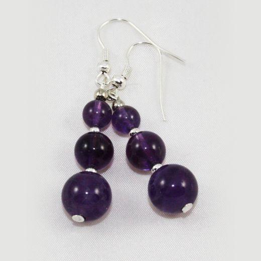 Boucles d'oreilles Améthyste 3 perles larges dégradées