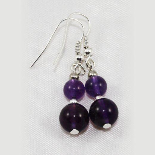 Boucles d'oreilles Améthyste 2 perles larges dégradées