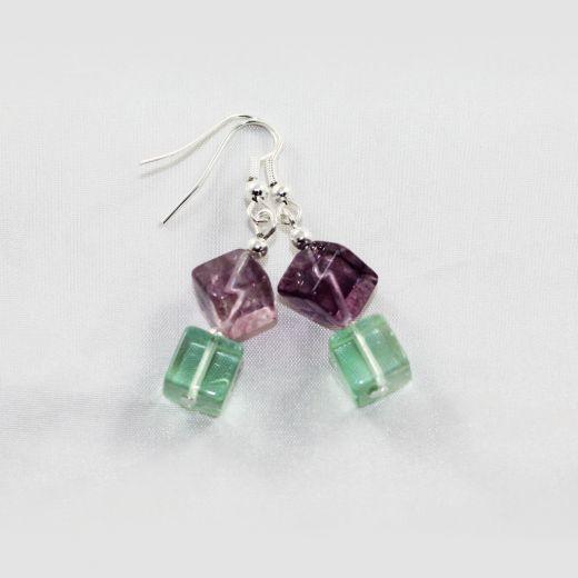 Boucles d'oreilles Fluorine cubes larges violet vert
