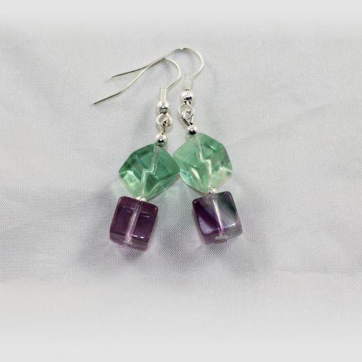 Boucles d'oreilles Fluorine cubes larges vert violet