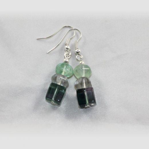 Boucles d'oreilles Fluorine 3 perles cube large et plates facettées