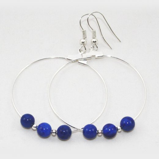 Boucles d'oreilles Créoles Lapis Lazuli 3 perles