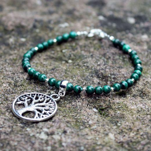 Bracelet perles malachite arbre de vie