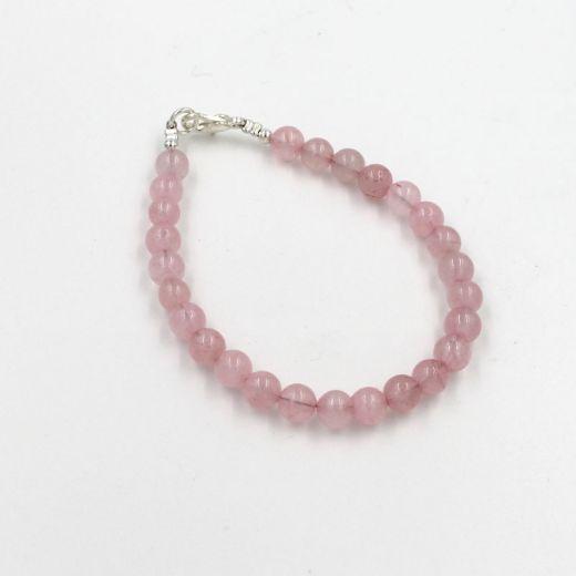 bracelet quartz rose perles rondes