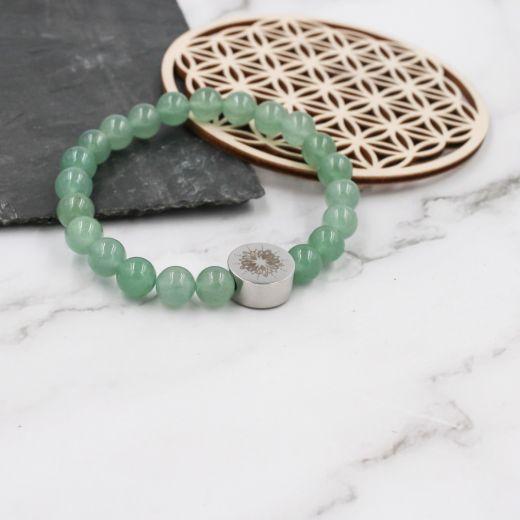 Bracelet Aventurine mandala acier