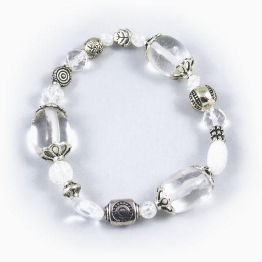 Bracelet élastique Cristal de Roche et breloques