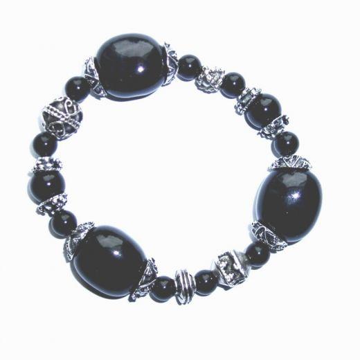 Bracelet élastique Onyx noir et breloques