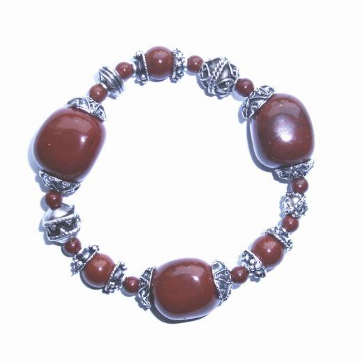 Bracelet élastique Jaspe rouge et breloques