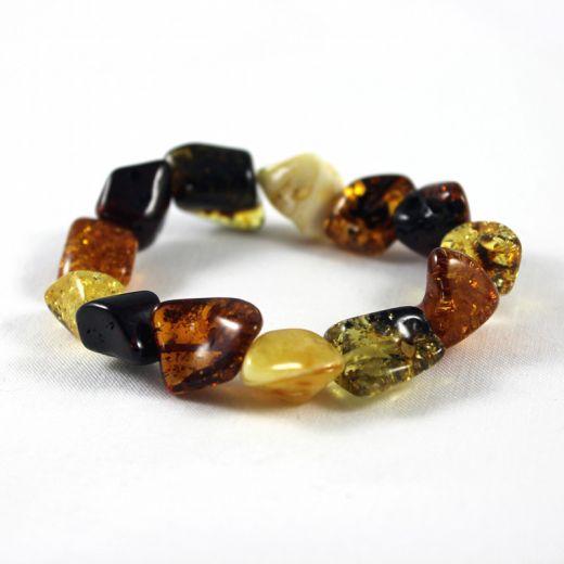 Bracelet élastique Ambre multicolore nuggets