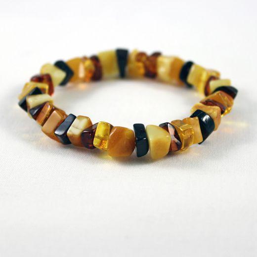 Bracelet élastique Ambre multicolore carré fin