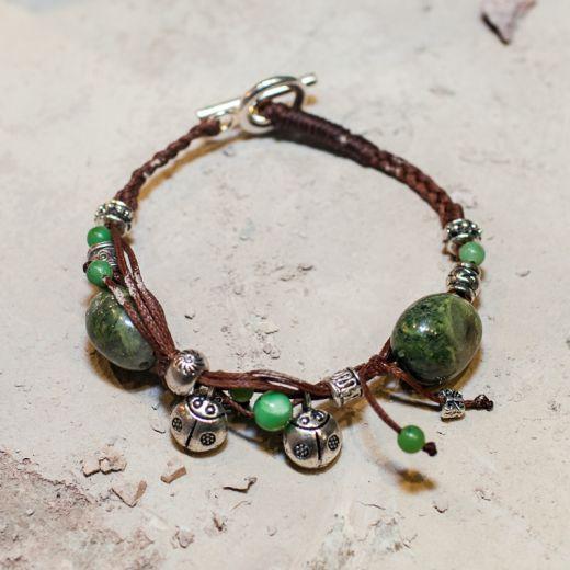 Bracelet ficelle Serpentine verte