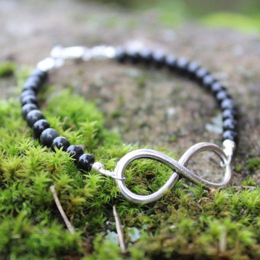 Bracelet obsidienne infini