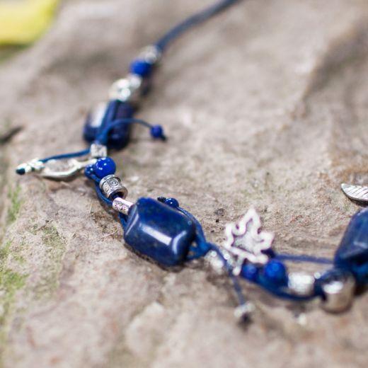 Collier ficelle plaque Lapis Lazuli