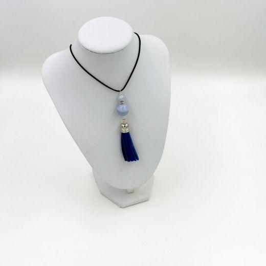 Collier Pompon Calcédoine bleue