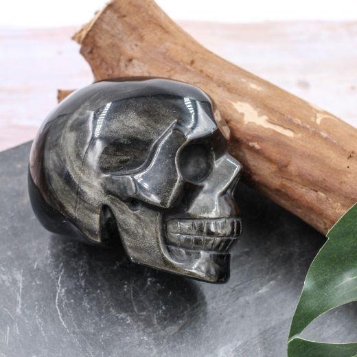 Crâne en Obsidienne dorée