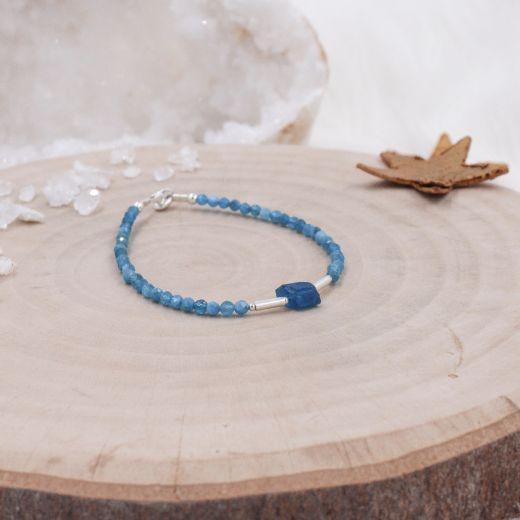 Bracelet fin argent Apatite bleue