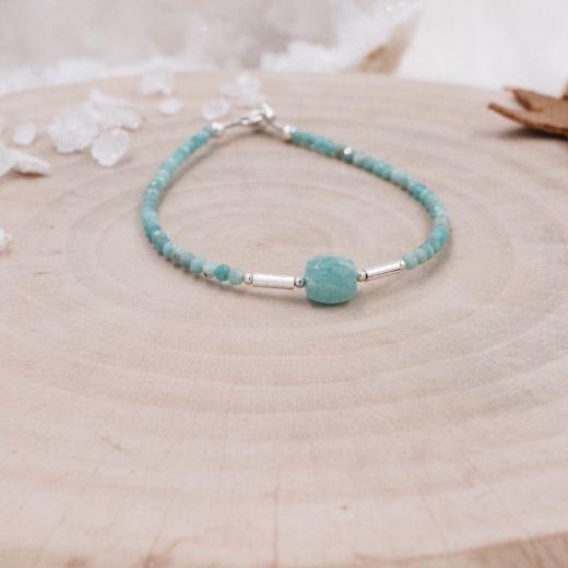 Bracelet fin argent Amazonite