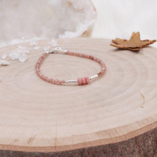 Bracelet fin argent Rhodochrosite
