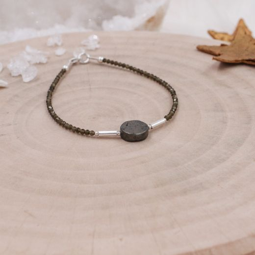 Bracelet fin argent Obsidienne et Pyrite