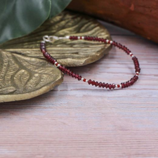 Bracelet Grenat fin argent