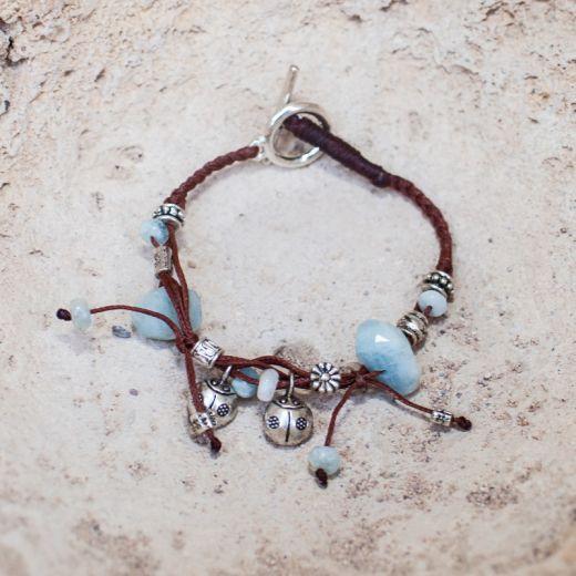 Bracelet ficelle Aigue-Marine
