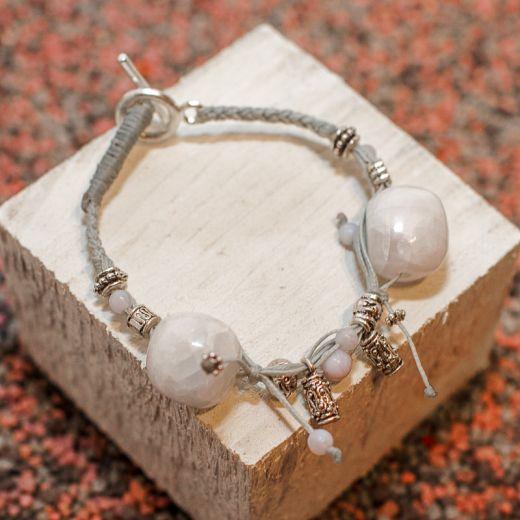 Bracelet ficelle Calcite bleue et Calcédoine