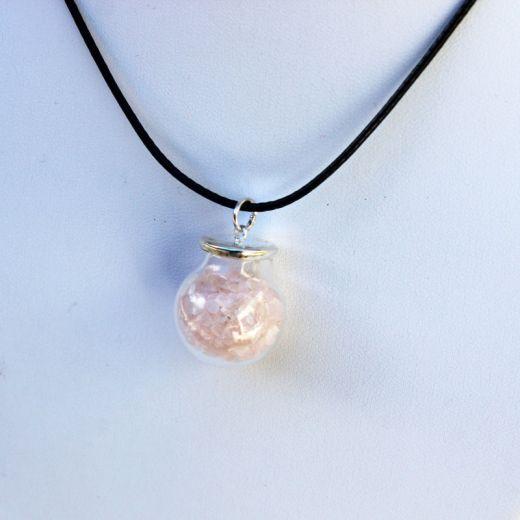 pendentif fiole de quartz rose