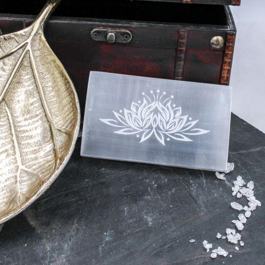 Plaque Sélénite fleur de Lotus