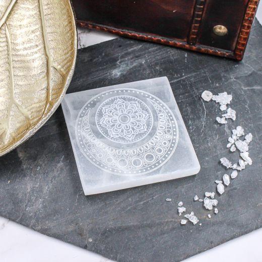Plaque Sélénite mandala Lune