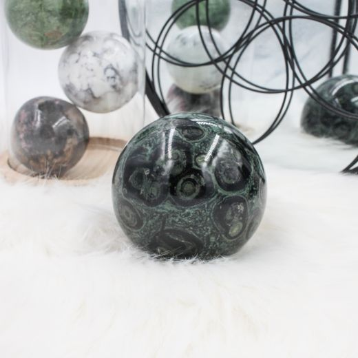 sphère jaspe vert