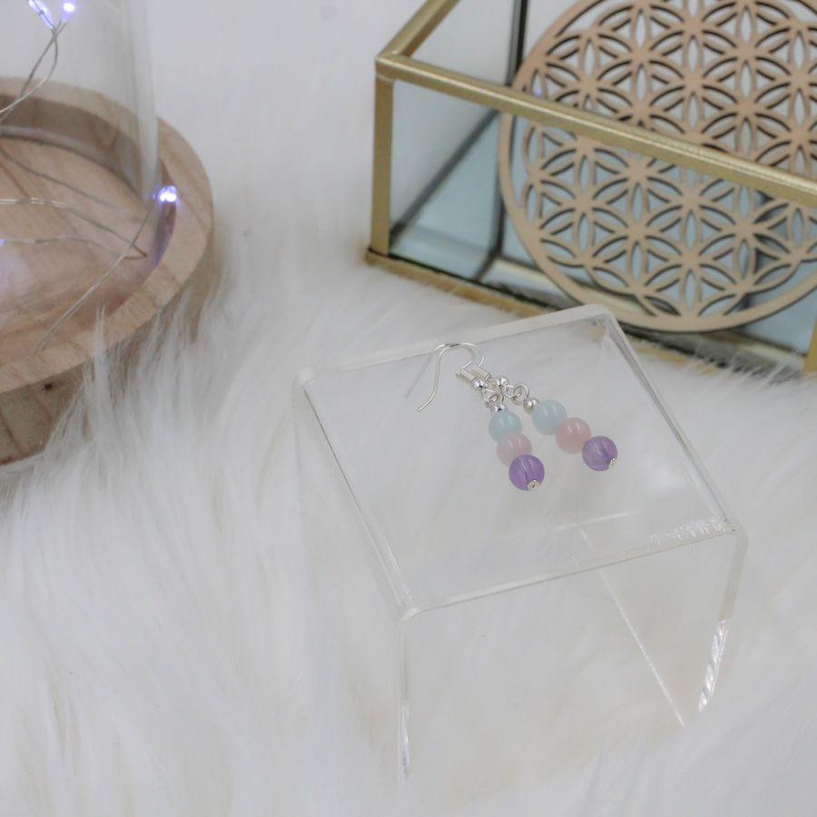 boucles améthyste quartz rose