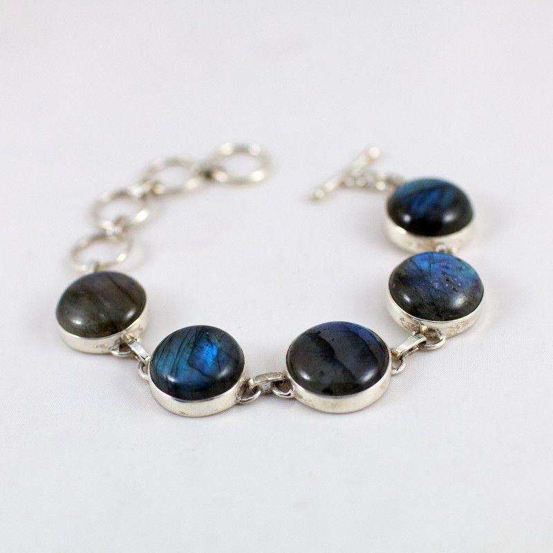 Bracelet en argent et Labradorite ronds