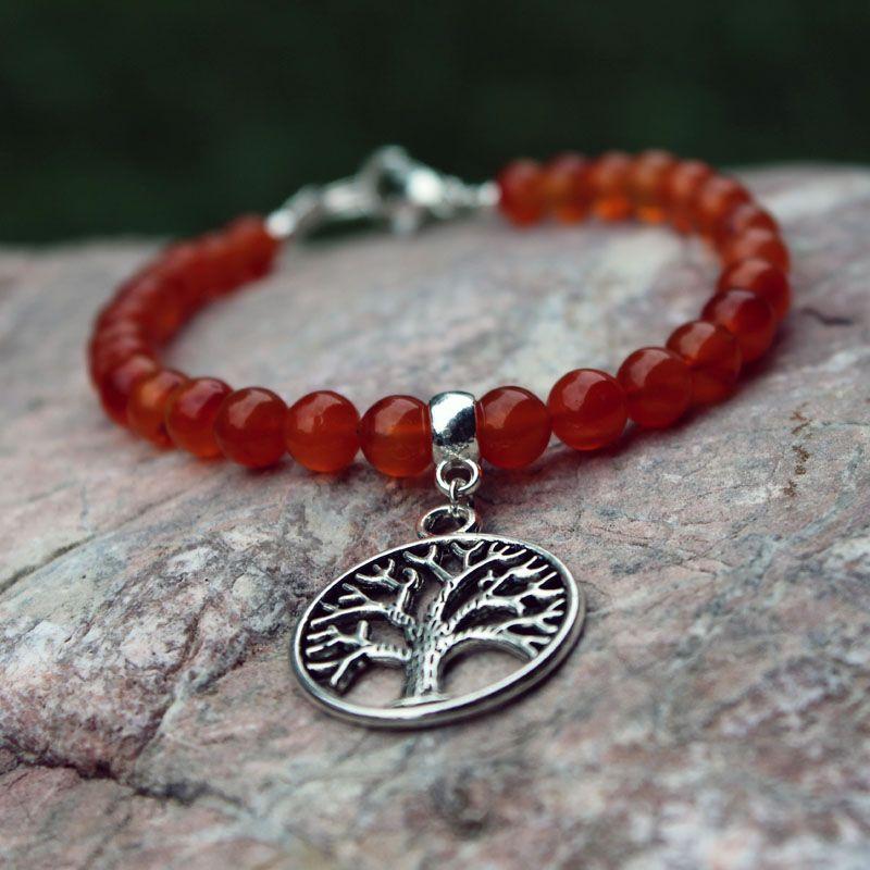 bracelet perles Cornaline breloque arbre