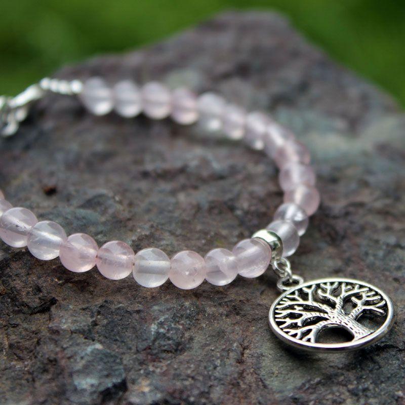 bracelet arbre de vie quartz rose