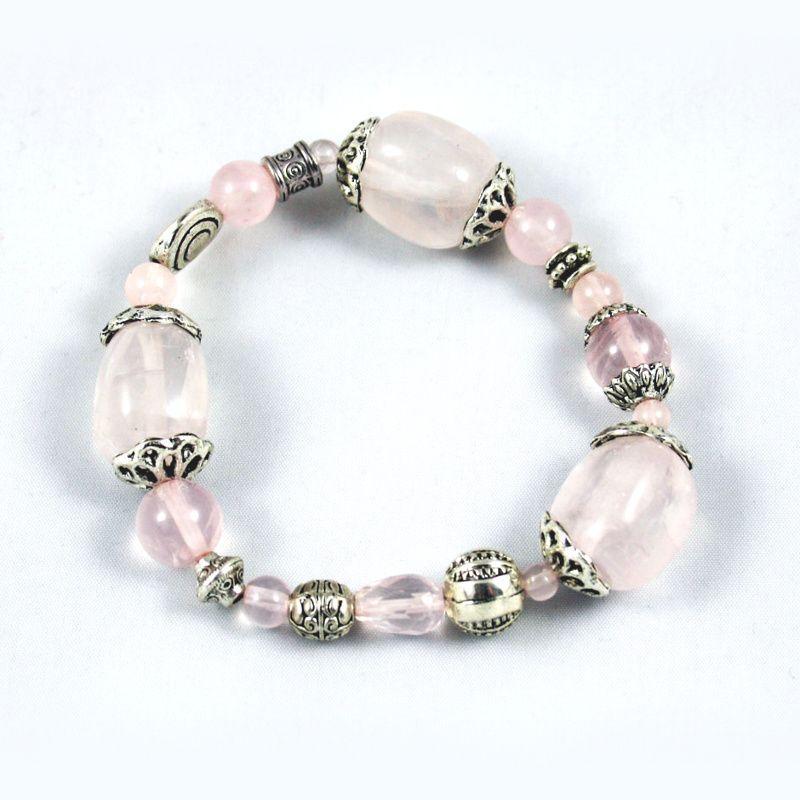 Bracelet élastique Quartz rose et breloques