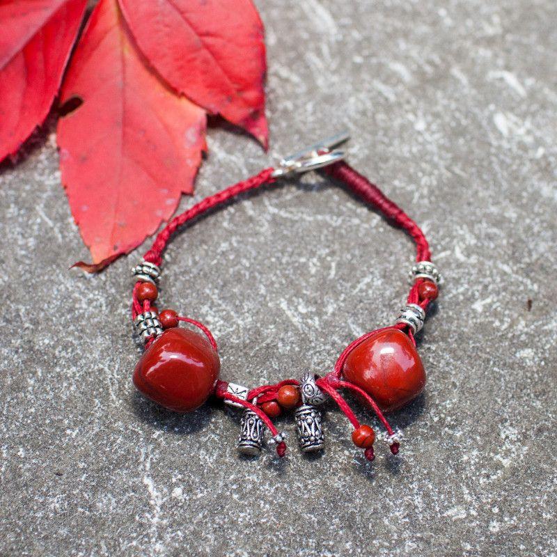 Bracelet ficelle Jaspe rouge