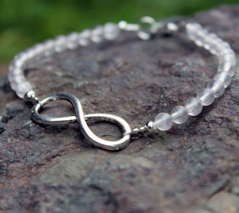 Bracelet perles Quartz rose infini