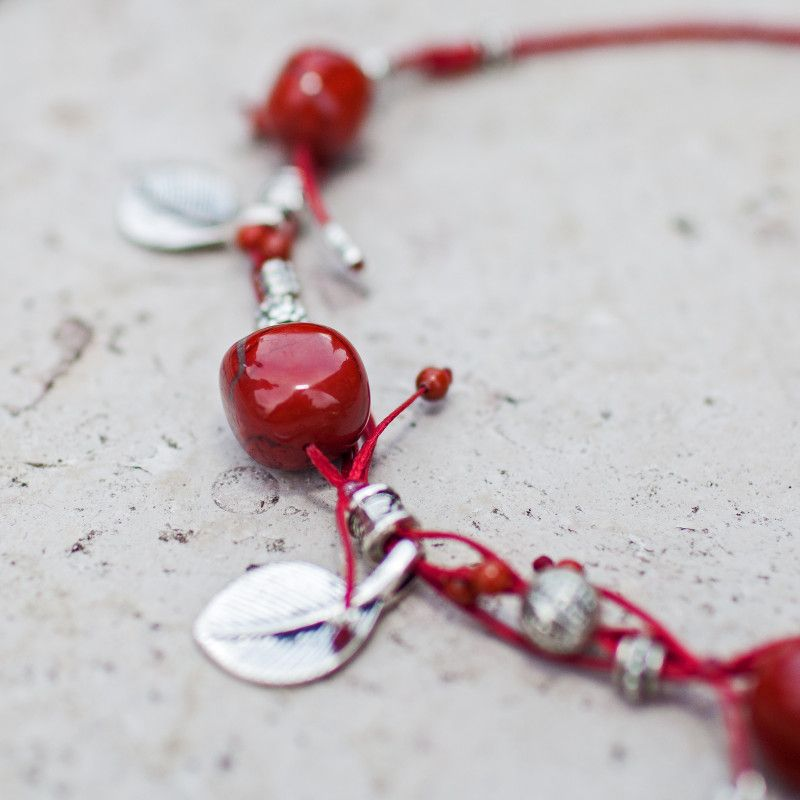 Collier ficelle Jaspe rouge