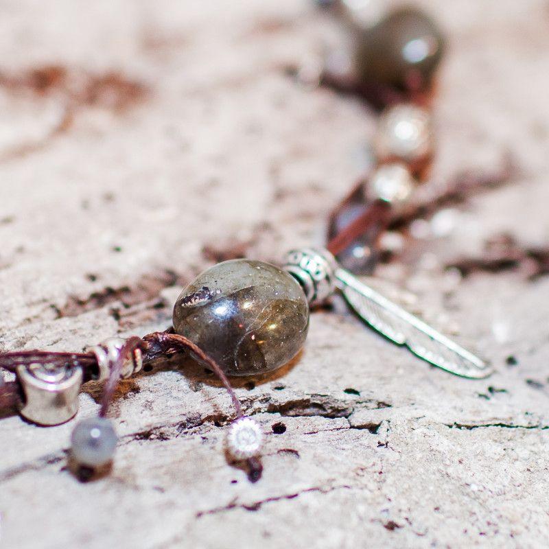 Collier ficelle Labradorite