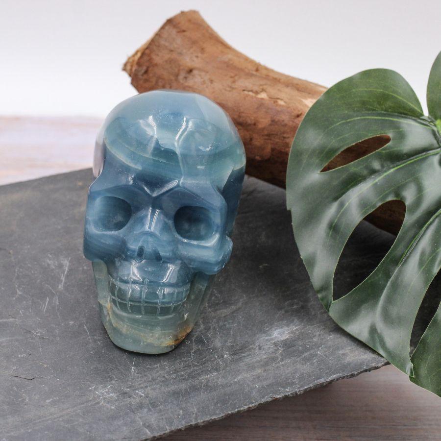 Crâne en Onyx bleu