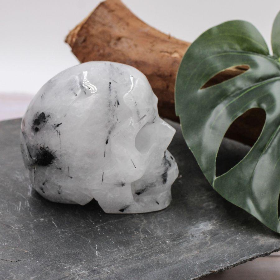 Crâne en Quartz Tourmaline