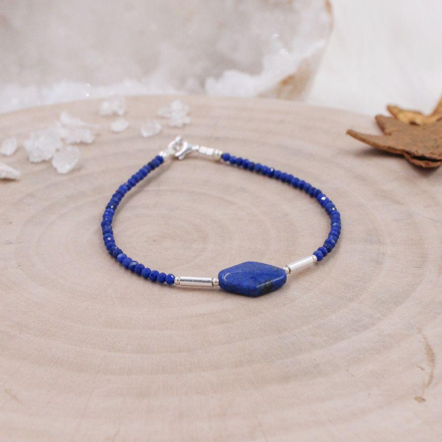 Bracelet fin argent Lapis Lazuli