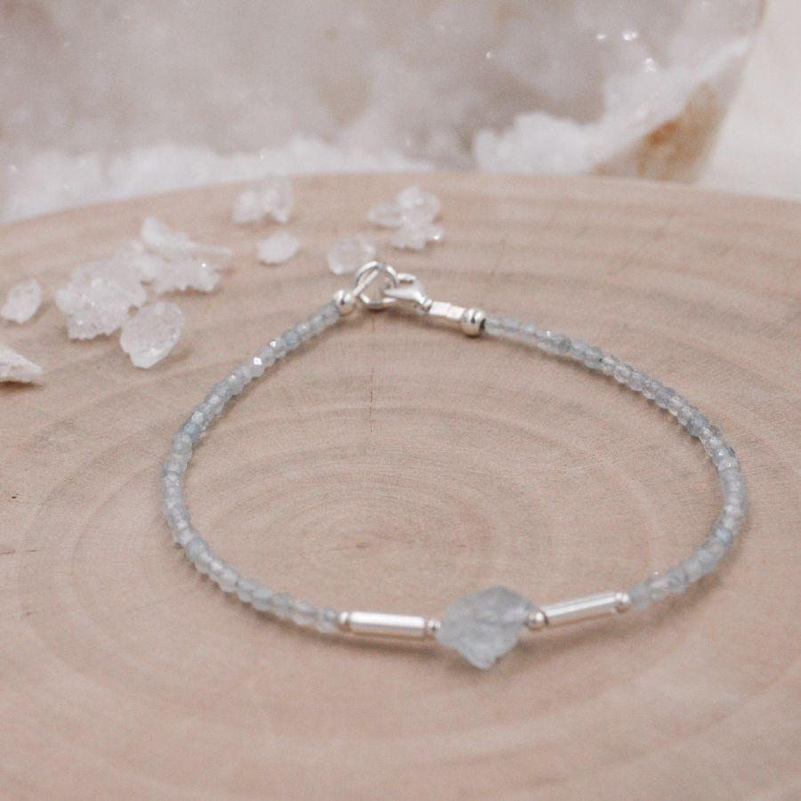 Bracelet fin argent Aigue-Marine