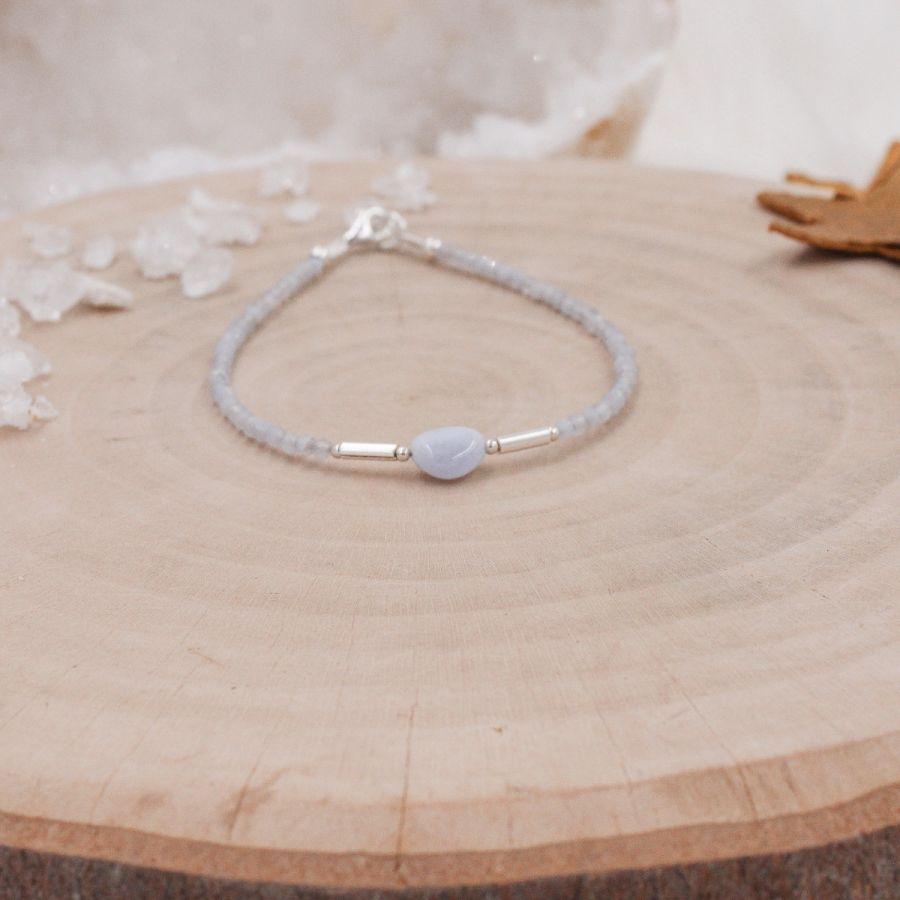 Bracelet fin argent Calcédoine